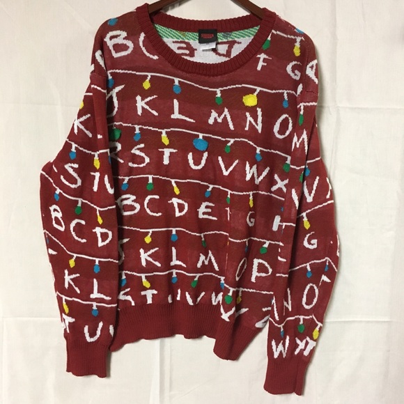 Stranger Things Ugly Christmas Sweater.Stranger Things Ugly Christmas Sweater Real Light